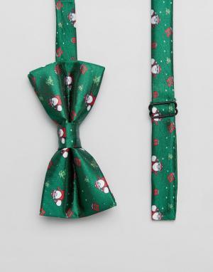 7X Галстук-бабочка с новогодним принтом. Цвет: зеленый