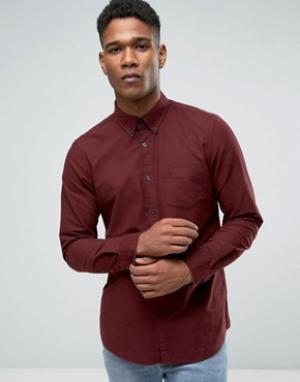 Jack Wills Темно-красная оксфордская рубашка классического кроя. Цвет: красный