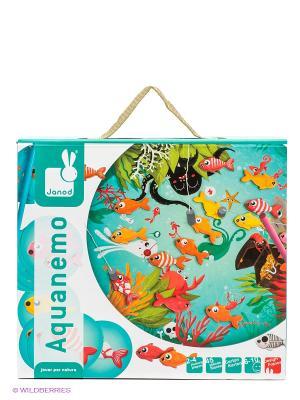 Настольная игра магнитная Рыбалка (20 карточек, 4 удочки, 20 рыбок) Janod. Цвет: голубой