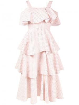 Многоярусное платье с открытыми плечами Huishan Zhang. Цвет: розовый и фиолетовый