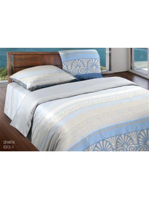 Комплект постельного белья 1,5 бязь  Sparta Wenge. Цвет: голубой