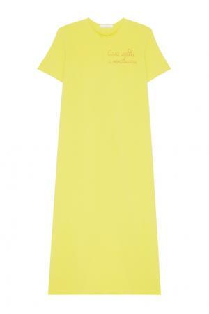 Хлопковое платье Inshade. Цвет: желтый