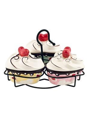 Набор из 3-х банок Сердечки-Biscuits на металлической подставке Elff Ceramics. Цвет: желтый, зеленый, розовый