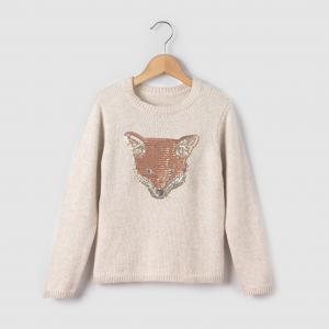 Пуловер теплый с рисунком лиса, 3-12 лет R essentiel. Цвет: бежевый