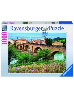 Пазл  Пуэнте-ла-Рейна, Испания 1000 шт Ravensburger. Цвет: голубой, зеленый, коричневый