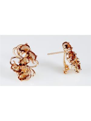 Серьги фианит дымчатый симфония Lotus Jewelry. Цвет: коричневый