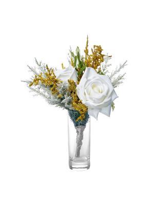 Композиция из искусственных цветов (роза) TERRAFIORI. Цвет: белый, желтый, зеленый