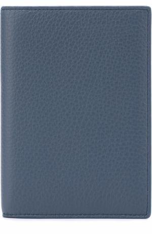Кожаная обложка для документов Smythson. Цвет: голубой