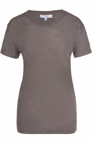 Льняная удлиненная футболка прямого кроя Iro. Цвет: темно-серый