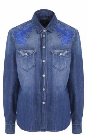 Джинсовая блуза с потертостями и принтом 7 For All Mankind. Цвет: синий
