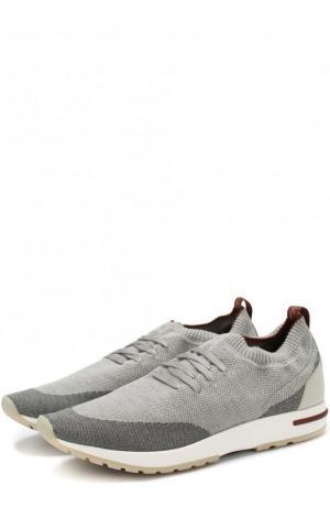 Текстильные кроссовки на шнуровке Loro Piana. Цвет: серый