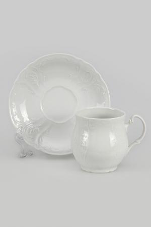 Чашка для чая с блюдцем Bohemia. Цвет: белый
