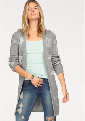Удлиненный кардиган AJC. Цвет: светло-серый меланжевый/цвет белой шерсти