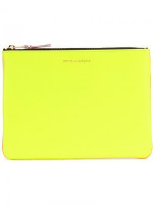 Клатч с застежкой на молнию сверху Comme Des Garçons Wallet. Цвет: жёлтый и оранжевый
