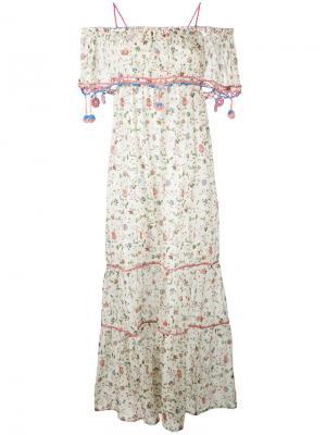 Платье с цветочным принтом Anjuna. Цвет: телесный