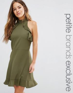 John Zack Petite Платье мини с высоким воротом. Цвет: зеленый