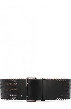 Кожаный ремень с перфорацией Alaia. Цвет: черный