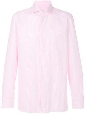 Рубашка с длинными рукавами Luigi Borrelli. Цвет: розовый и фиолетовый
