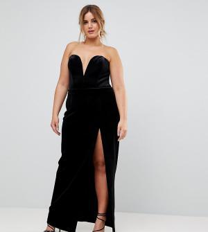 Taller Than Your Average Платье-бандо макси с разрезом до бедра TTYA BLACK Plus. Цвет: черный