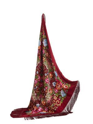 Платок с павлопосадским узором и длинной бахромой, 96 x cm Nothing but Love. Цвет: бордовый, голубой, розовый