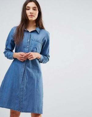 Parisian Джинсовое цельнокройное платье. Цвет: синий