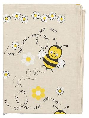 Полотенце льняное Пчелки GrandStyle. Цвет: серый, оранжевый