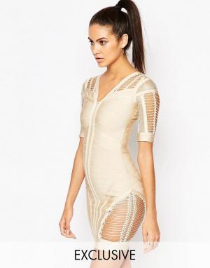 Wow Couture Облегающее бандажное платье с ажурными вставками. Цвет: бежевый