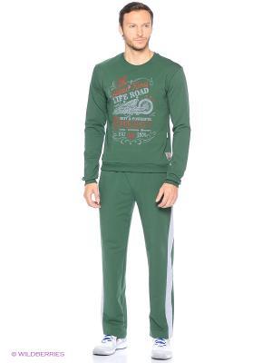 Костюм спортивный Кэмерон Runika. Цвет: зеленый, серый меланж