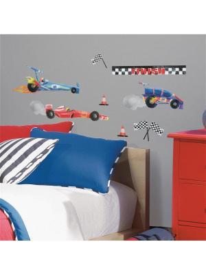 Наклейки для декора - Гоночные машины ROOMMATES. Цвет: белый, голубой, желтый, зеленый, красный, оранжевый, серый, синий, черный