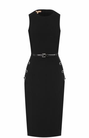 Приталенное платье без рукавов с поясом Michael Kors. Цвет: черный