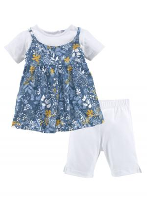 Комплект, 2 части: платье + легинсы KLITZEKLEIN. Цвет: с рисунком+белый
