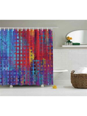 Фотоштора для ванной Красно-синяя абстракция, 180*200 см Magic Lady. Цвет: красный, желтый, синий
