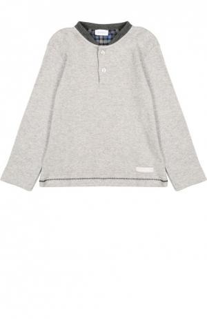 Хлопковая футболка хенли с длинными рукавами Grigioperla. Цвет: серый