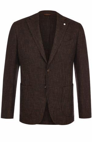 Однобортный пиджак из смеси хлопка и шерсти L.B.M. 1911. Цвет: коричневый