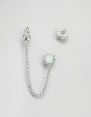 Krystal Непарные серьги с кристаллами Swarovski от. Цвет: серебряный
