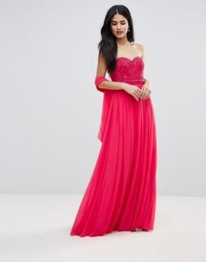 Forever Unique Платье макси с вырезом сердечком. Цвет: розовый