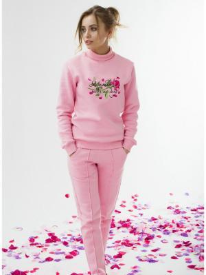 Розовый женский костюм с вышивкой Я люблю тебя на бегу Eniland. Цвет: розовый