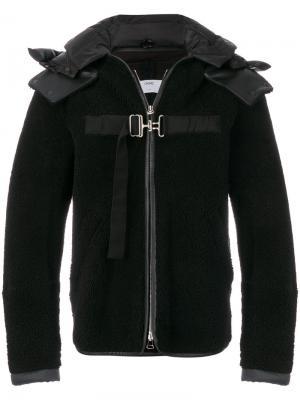 Куртка с отделкой из овчины и ремешками Oamc. Цвет: чёрный