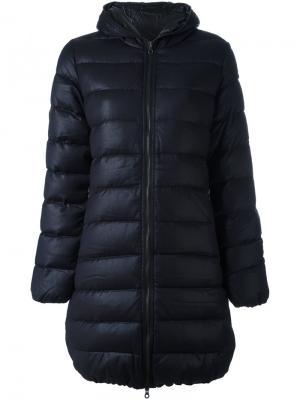 Пуховик-пальто с капюшоном Duvetica. Цвет: синий