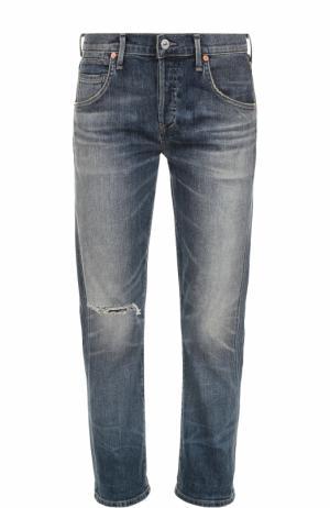 Укороченные джинсы прямого кроя с потертостями Citizens Of Humanity. Цвет: синий
