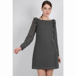 Платье в горошек с длинными рукавами MOLLY BRACKEN. Цвет: черный/в горошек белый