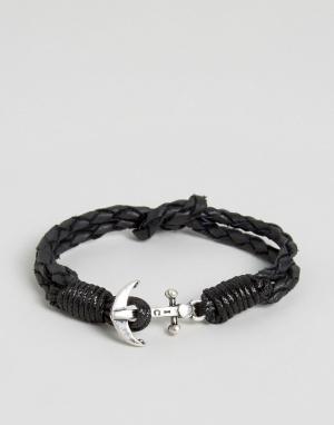 Icon Brand Черный кожаный браслет с якорем. Цвет: черный