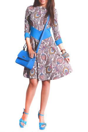 Платье FRANCESCA LUCINI. Цвет: радужный, голубой