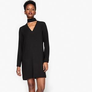 Платье прямое с ошейником и длинными рукавами La Redoute Collections. Цвет: красный,черный