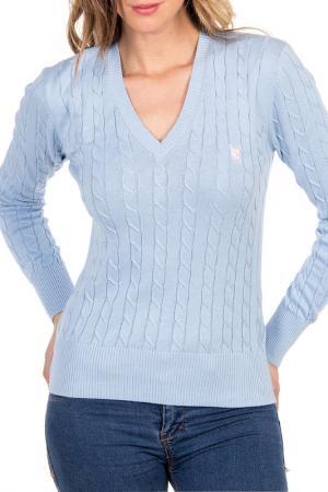 Пуловер POLO CLUB С.H.A.. Цвет: светло-синий, розовый