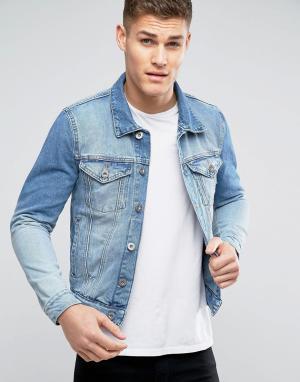 River Island Голубая джинсовая куртка. Цвет: синий