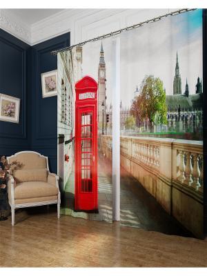Фотошторы Символ Лондона, Блэкаут Сирень. Цвет: красный, серый, голубой, бежевый