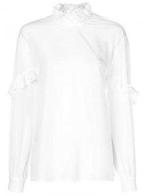 Рубашка с оборкой Rochas. Цвет: белый