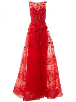 Декорированное вечернее платье Zuhair Murad. Цвет: красный