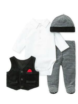 Комплект из 4-х предметов Маленький принц Little Me. Цвет: белый, черный, серый
